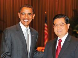 Presedintele SUA, Barack Obama si presedintele Chinei, Hu Jintao