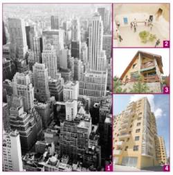 1. Aglomerare de blocuri zgârie-nori din beton (Manhattan, New York ). 2. Casă săpată în lut în apropierea deșertului la .