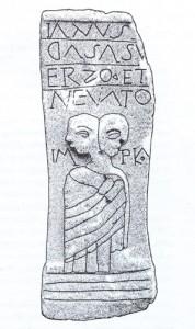 Zeul Ianus, cu doua capete, este considerat patriarhul nemuritor (IM PIO) al latinilor, dupa cum se vede in aceasta stela de la Rosia Montana