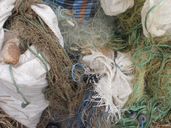 Sute de metri de plase, abandonate în Delta Dun?rii