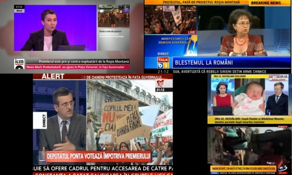 Protestul anti Ro?ia Montan?, în cifre seci: zero ?tiri pe Antena 1, Antena 3, România TV ?i Prima TV