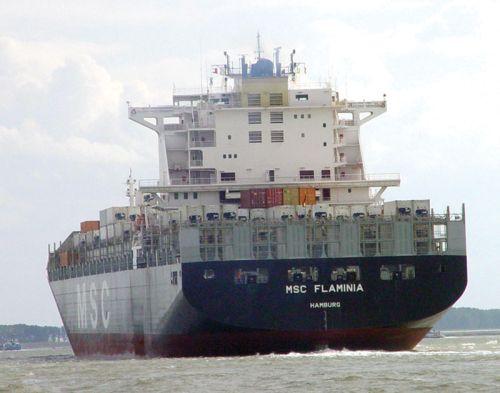 Nava MSC Flaminia se întoarce în Portul Mangalia