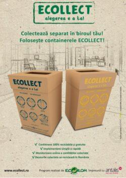 ECOLLECT, primul serviciu de colectare separata a deseurilor de la birou din Romania