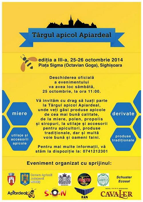Targul apicol Apiardeal – editia a III-a 25-26 octombrie, Sighisoara