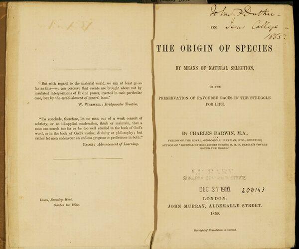 155 de ani de la publicarea lucr?rii ''Originea Speciilor'', a naturalistului Charles Robert Darwin