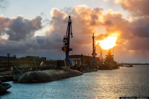 Cum arat? cel mai mare ?antier naval din Rusia, unde sunt construite submarinele nucleare